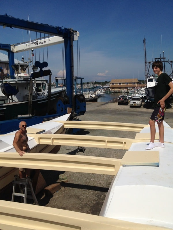 Looking down at the deck installation on Montauk&#039;s Charter Sailing Catamaran Mon Tiki, photo by Sailing Montauk, photo by Sailing Montauk