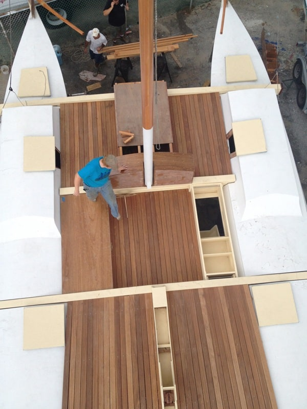 Looking down at the deck installation on Montauk&#039;s Charter Sailing Catamaran Mon Tiki, photo by Sailing Montauk