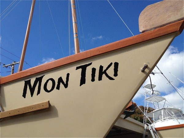 Letting on Montauk's Charter Catamaran Mon Tiki's Starboard Bow, photo by Sailing Montauk