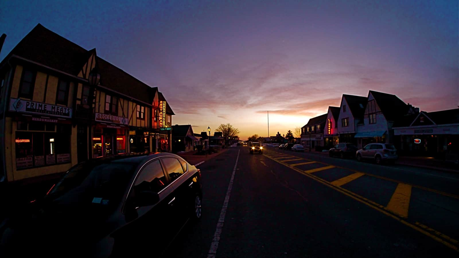 Main Street, Dusk, February 12, 2013, Montauk NY , photo by Sailing Montauk