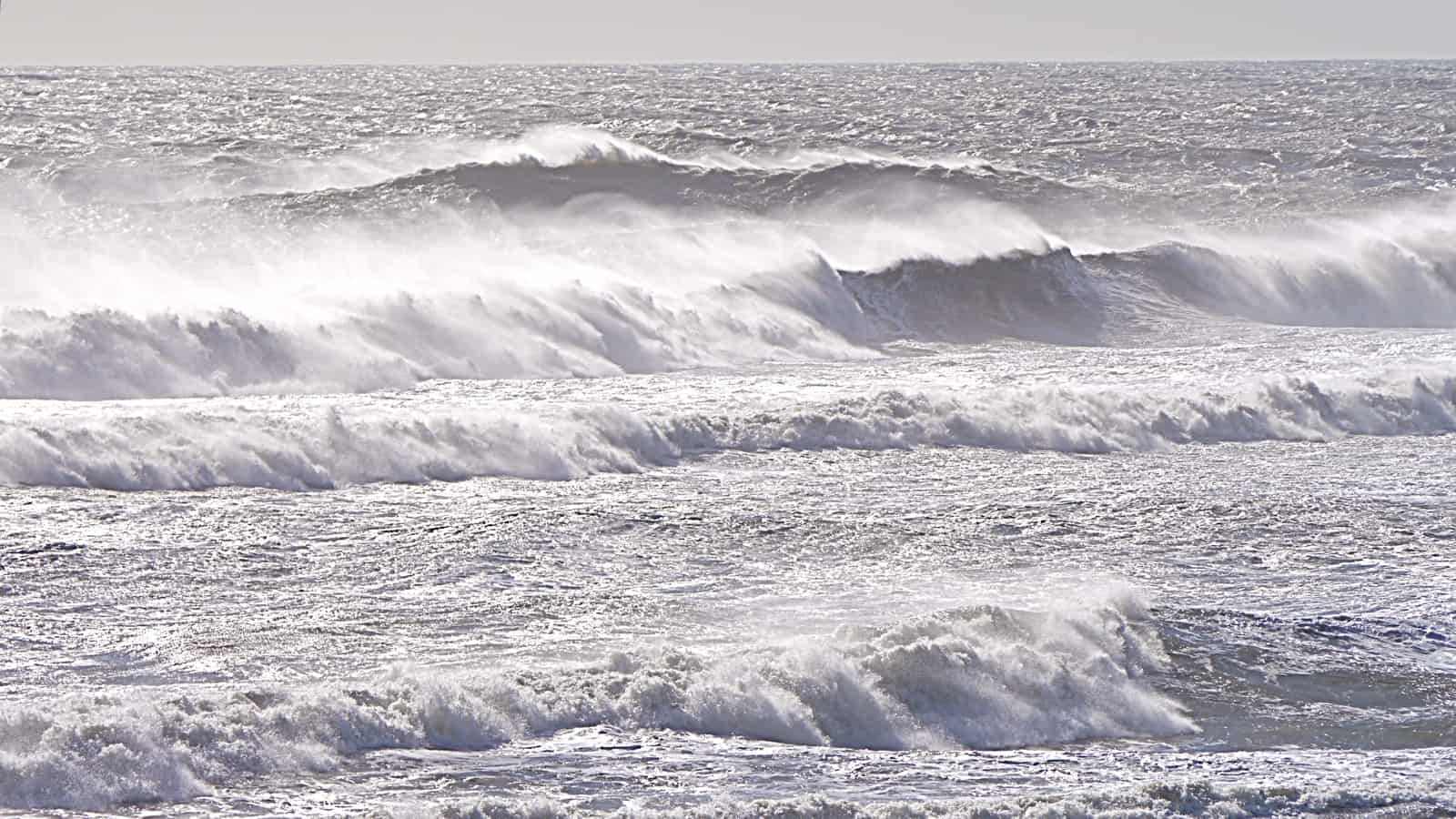 Storm surf in front of Shadmoor Park, Montauk NY