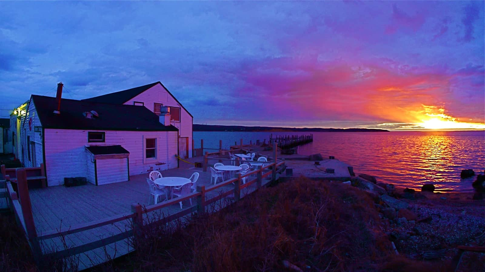 Sunset over Fort Pond Bay as seen from Duryea's Lobster, March 28 2013, Montauk NY, photo by Sailing Montauk