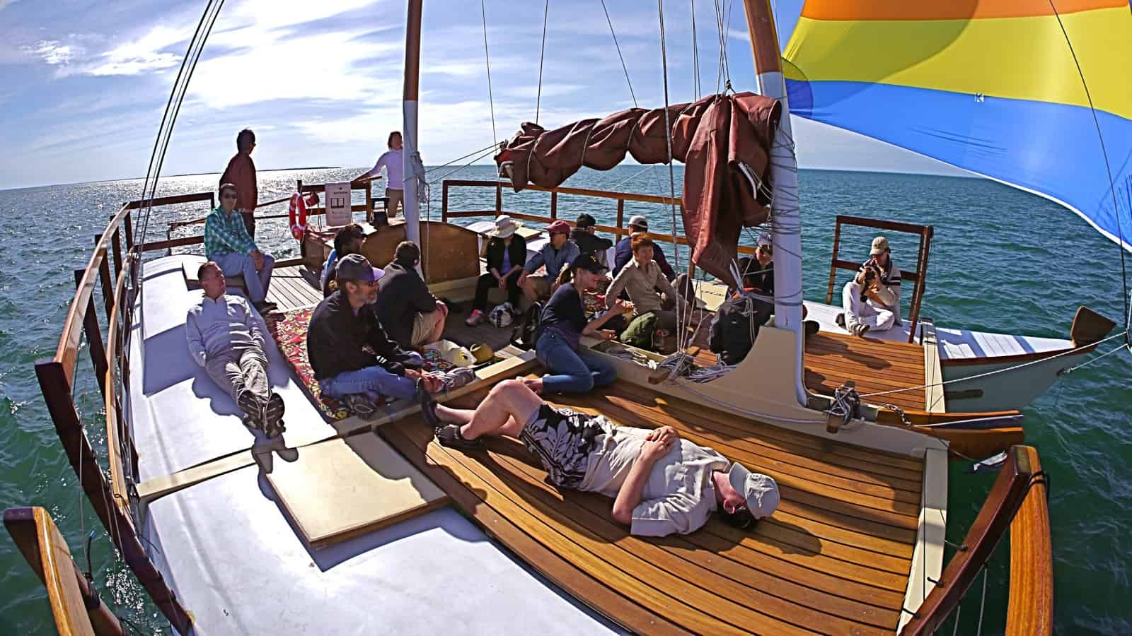 Google corporate retreat on the charter catamaran Mon Tiki sailing on Block Island Sound, photo by Sailing Montauk
