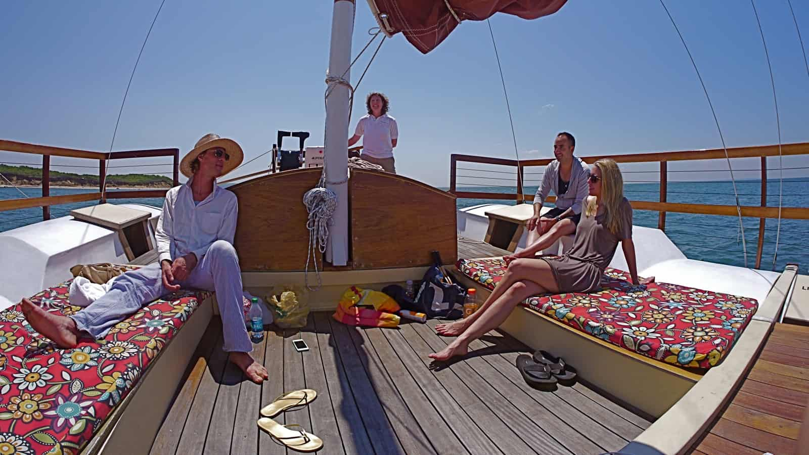 Culloden Point passes to starboard on a gentle afternoon sail on the charter catamaran Mon Tiki, photo by Sailing Montauk