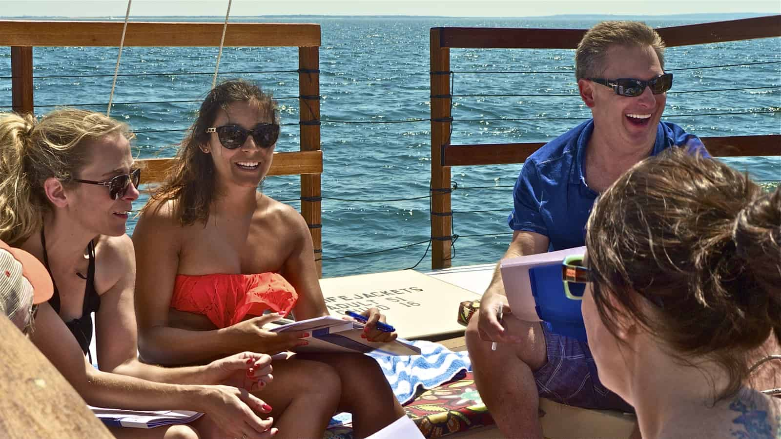 A hedge-fund corporate retreat onboard the charter catamaran Mon Tiki, photo by Sailing Montauk