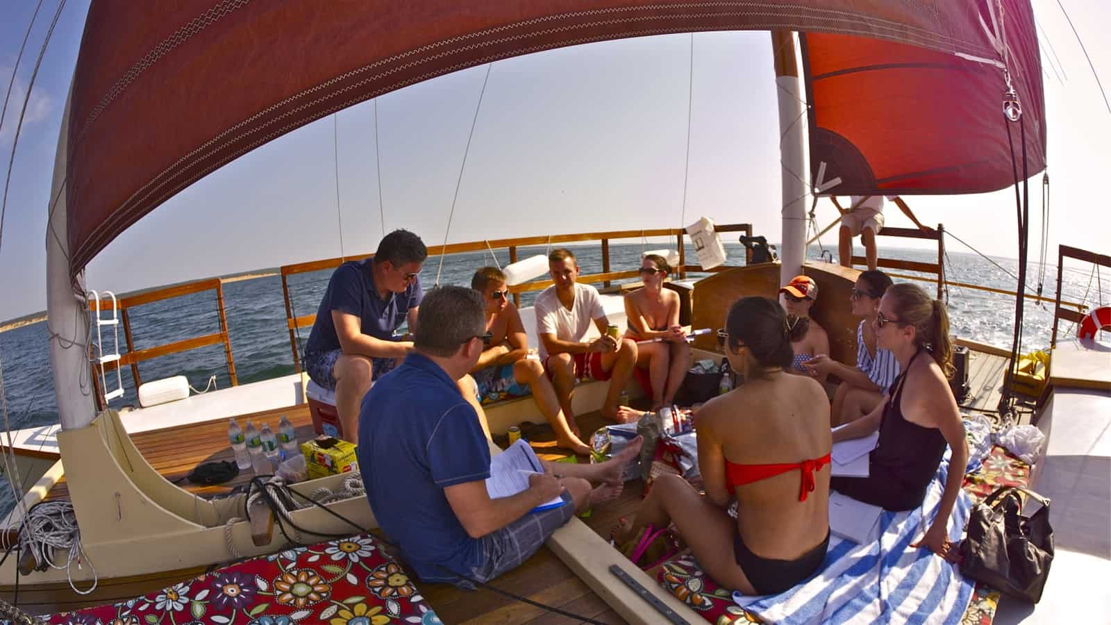 Corporate off-site meeting takes place under full sail on the charter catamaran Mon Tiki, photo by Sailing Montauk