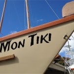 Letting on Montauk's Charter Catamaran Mon Tiki's Starboard Bow, photo by Sailing Montauk