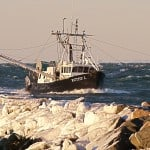 Ruthy L entering Montauk Harbor on an Icy Day, Montauk NY, photograph by Sailing Montauk