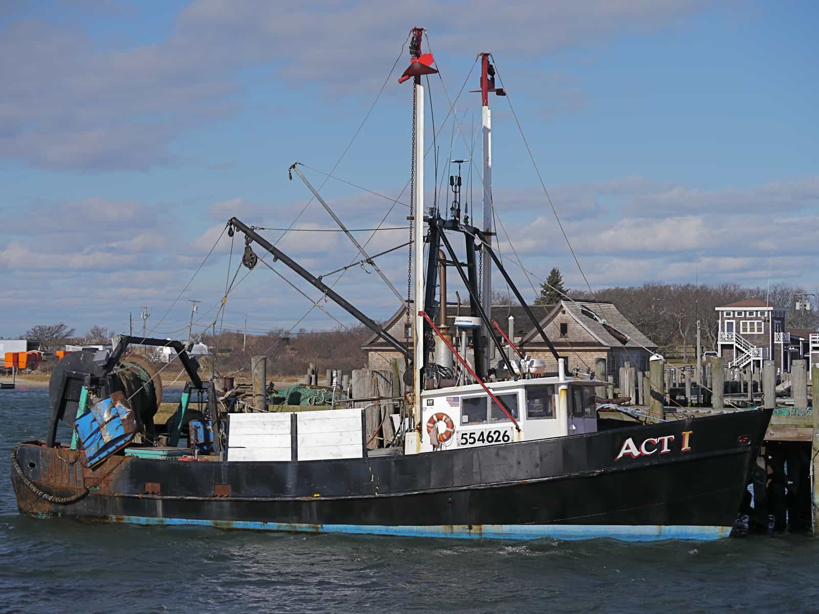 The trawler Act 1 at Town Dock, Montauk NY, photo by Sailing Montauk