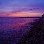 Duryea's Pier and Rock Point bounding Fort Pond Bay, Dusk, April 22 2013, Montauk NY, photo by Sailing Montauk