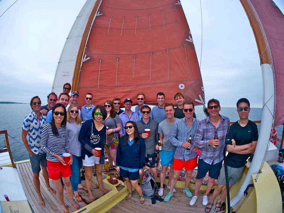 Corporate events in Montauk on Mon Tiki Charter Catamaran