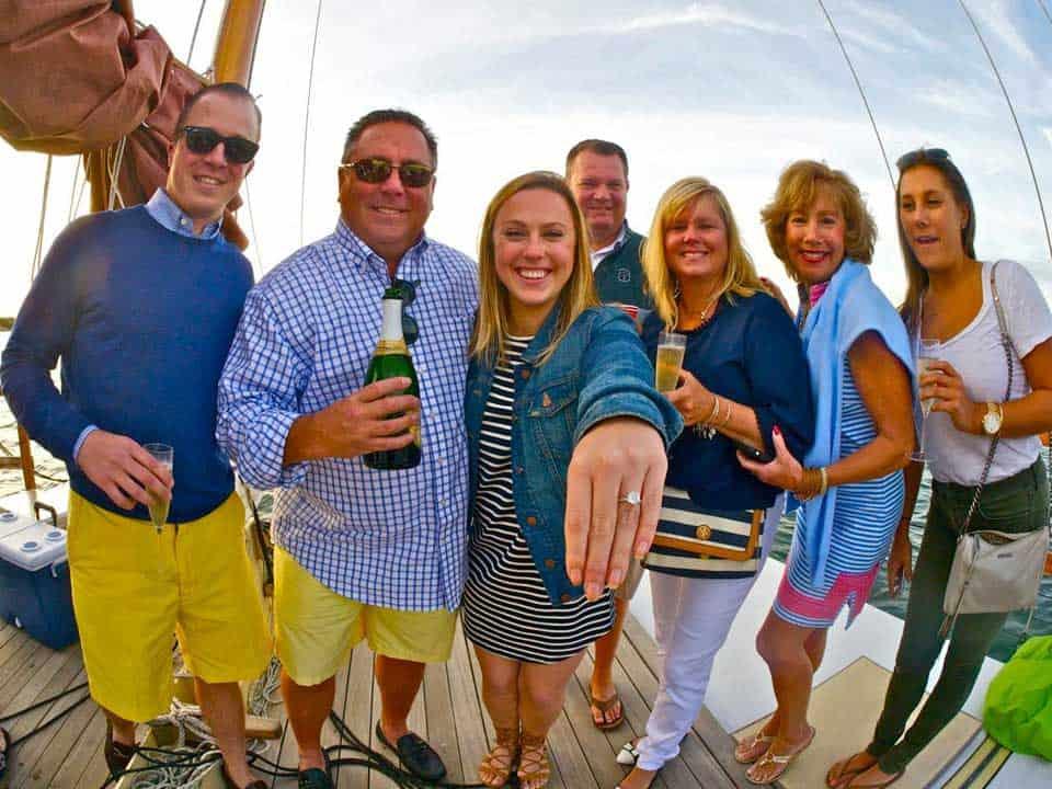 Weddings, engagements, birthdays and special events on Montauk's Charter Sailing Catamaran Mon Tiki