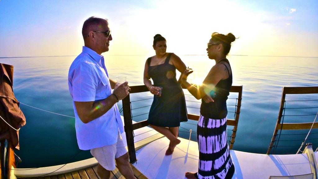 A team from Sephora takes in a sunset cocktail cruise