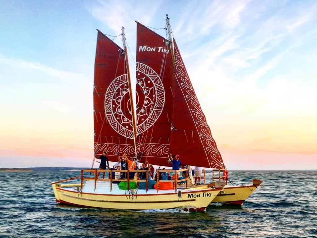 The original Mon Tiki sets sail in Block Island Sound