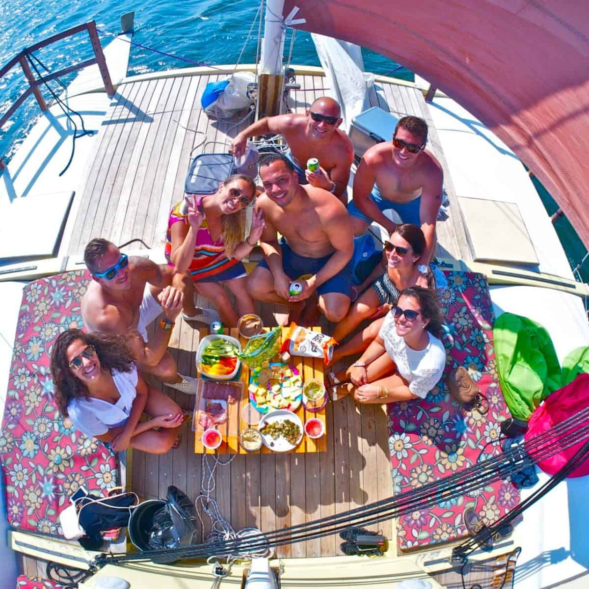 Why not take your picnic afloat? Mon Tiki's spacious open deck makes it easy.