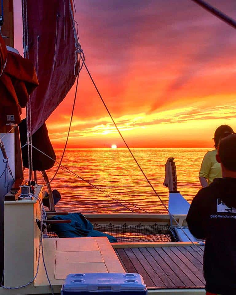 Spectacular Montauk sunset on board Mon Tiki Largo