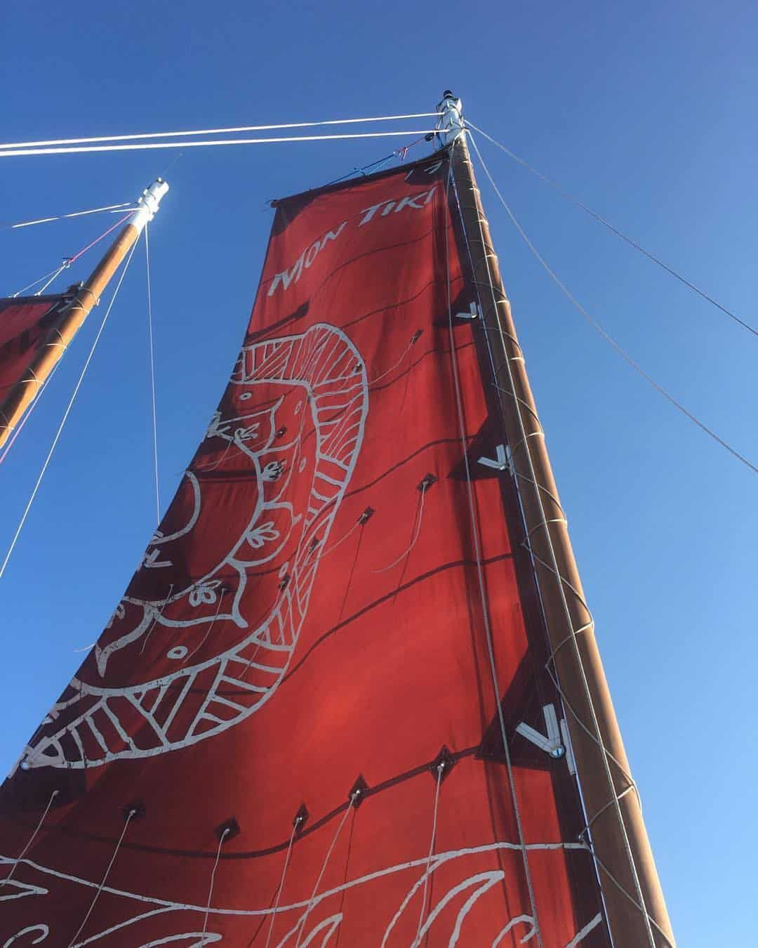Mon Tiki's distinctively decorated sails