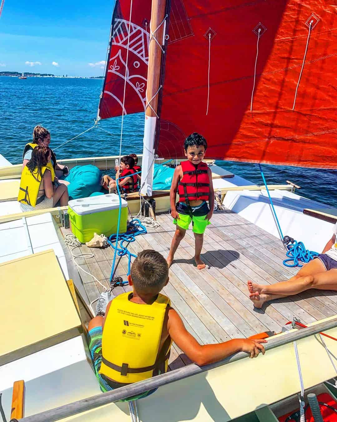 Hang out on the hardwood deck or up in the nets on Mon Tiki Mini