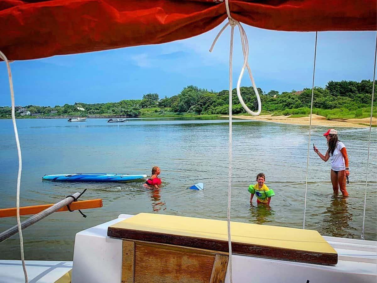 Family sail and swim outing on Mon Tiki Mini