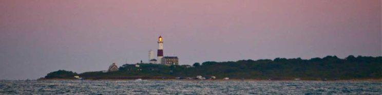 Montauk Lighthouse as seen from the deck of catamaran Mon Tiki