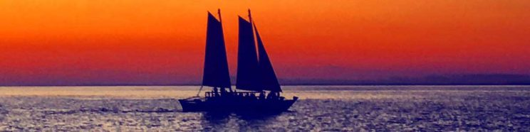 The original Mon Tiki gliding into another beautiful sunset in Block Island Sound